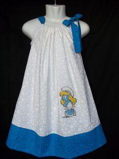 602fc932406 smurf smurfs smurfette BIRTHDAY PARTY turquoise teal blue polka dot smurf  pillowcase sun dress size girls 3t 4t