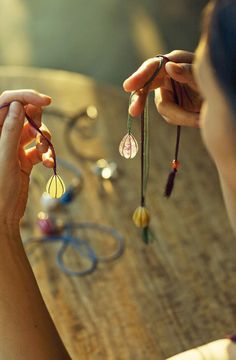 Natural Stone and Braided Silk Jewelry - [ JURGEN LEHL ]--puts me in mind of lantern jewelry--oooh