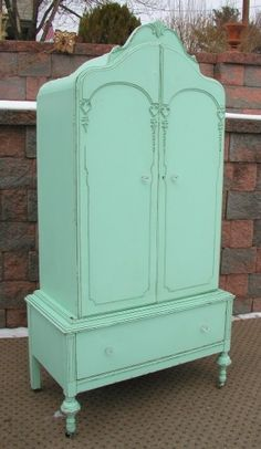 This armoire has such beautiful lines & character ~ I can just imagine how gorgeous the wood was before it was painted.