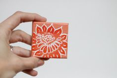 Bloom in Coral  - Original Acrylic Painting on 2x2 Mini Canvas Magnet