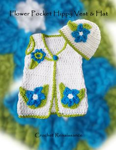 Flower Pocket Hippy Vest & Hat Crochet Pattern, 2-4 yrs.  Super snuggly.  Perfect for Fall, Winter and Spring. Awesome over T's, leggings and jeans. Crochet Pattern www.etsy.com/shop/crochetrenaissance and www.ravelry.com/people/crochet41to5s