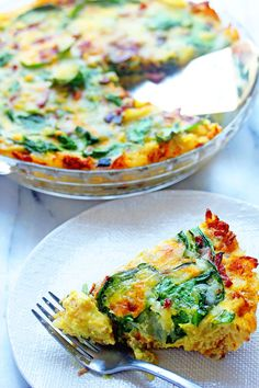 Spinach and Bacon Hash Brown Quiche