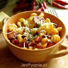 Wiejski makaron z kiełbasą i sosem pomidorowym Chili, Soup, Chile, Soups, Chilis