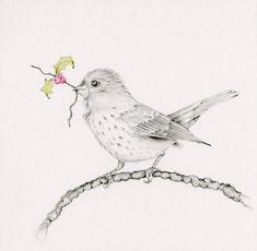 Bird Drawing Giclee Fine Art Print of my by ABitofWhimsyArt