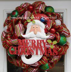 mesh wreaths   Christmas Santa Deco Mesh Wreath by HolidaysAreSpecial on Etsy