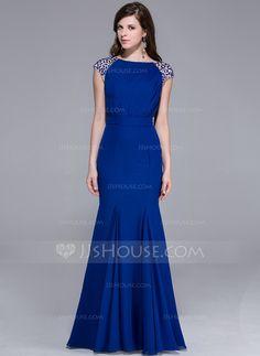 Trumpet/Mermaid Scoop Neck Floor-Length Chiffon Evening Dress With Beading (017025435)