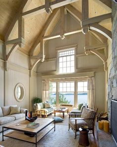 Vaulted ceiling ideas are really good for you who want to design your house in incredible interior decor. Even though this ceiling type was only for cathedrals, nowadays, some people use it to design interior decor of the room to create a spacious look. Beautiful Interiors, Beautiful Homes, Luxury Interior Design, Ceiling Design, Ceiling Detail, Ceiling Decor, Great Rooms, My Dream Home, Home And Living