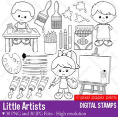 Little artists - Digital stamps set - Art party