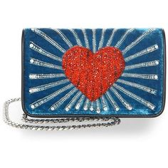 Les Petits Joueurs Ginny Heart Velvet Clutch (31.950 RUB) ❤ liked on Polyvore featuring bags, handbags, clutches, blue clutches, hand bags, blue hand bag, handbags clutches and purse clutches