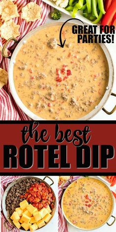 game day food This quick and easy homemade Rotel dip is loaded with cheesy goodness, ground beef, and spices. With only three ingredients, its ready to eat in only minutes perfect for pa Guacamole, Crock Pot Dips, Crock Pot Cheese Dip, Crockpot Queso Dip, Rotel Cheese Dip, Cheese Dip Recipes, Velveeta Queso Dip, Sausage Queso Dip, Chip Dip Recipes