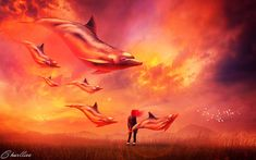 ballet of the dolphins by CharllieeArts on DeviantArt Abraham Hicks, Fantasy World, Law Of Attraction, Dolphins, Art Decor, Concept Art, Deviantart, Painting, Affirmations