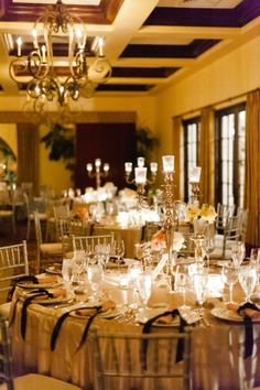 gold and black wedding reception