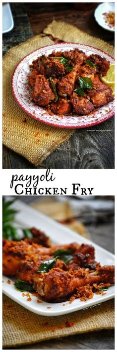 Payyoli chicken fry, a dry chicken fry with the authentic malabar flavours. The chicken is marinated with dried red chilli paste and many flavourful spices, deep fried in coconut oil and served wit… Indian Chicken Recipes, Indian Food Recipes, Asian Recipes, Ethnic Recipes, Indian Foods, Indian Snacks, Indian Fried Chicken, Chicken Recepies, Kerala Recipes