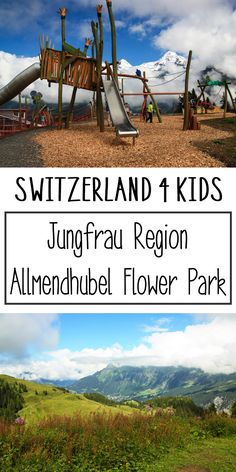 Fun playground in the alps near Mürren, with views of the Jungfrau, Eiger, and Mönch peaks across the valley. Switzerland.