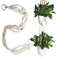Vintage Plant Hanger Flower Pot Holder Macrame 4 Leg String Hanging Rope Basket