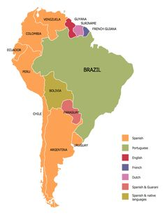Languages of South America Map