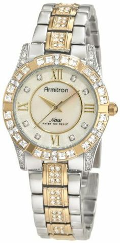 Armitron Women's 75/3996MPTT Swarovski Crystal Accented Two-Tone Bracelet Watch Armitron. $60.00. Genuine mother-of-pearl dial with 8 swarovski crystal markers. Two-tone adjustable link bracelet with 48 genuine swarovski crystals; jewelry clasp closure with an extender. Two-tone round case with 34 genuine swarovski crystals around the bezel. Gold-tone hour, minute and second hands. Water-resistant to 30 M (99 feet). Save 25% Off!