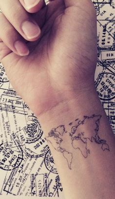 wrist map tattoo idea More
