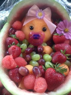 This is the baby shower fruit baby bassinet I made for a friend :) by rona.mohamed.1044