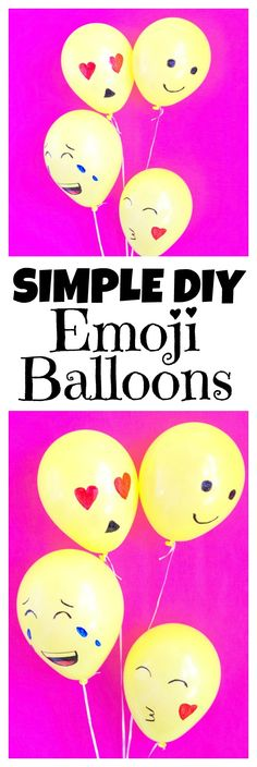 Simple diy emoji balloons are such a fun and easy diy for an emoji party. You can make these balloons in minutes then enjoy your emoji party! 10th Birthday Parties, Slumber Parties, Diy Birthday, Birthday Ideas, Simple Diy, Easy Diy, Bar A Bonbon, Diy Décoration, Diy Party