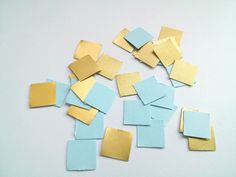 Gold Blue Paper Confetti Wedding Confetti Baby boy shower confetti Party Decorations Birthday party Square confetti blue geometric sprinkles