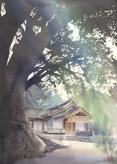 Por amor al arte: Kanta Harusaki Art Aquarelle, Watercolor Drawing, Watercolor Landscape, Painting & Drawing, Landscape Paintings, Watercolor Japan, Japanese Painting, Japanese Art, Guache