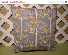 ON SALE Bird Tree Pillow Cover in Gray and by JRsPillowsandBags, $18.00- I know someone who would love this!!  :)