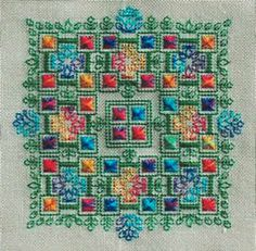 This colorful design combines specialty stitches with blackwork.  You are encouraged to choose your own fabric.  Our recommendation is 28-count Antique White Lugana (3270-101).   The threads used are Dinky Dyes silk