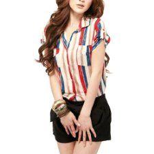 Allegra K Women Point Collar Short Sleeve Striped Shirt