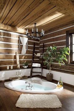 and Spacious Country House Surrounded by Lush Vegetation and Green Environment Beautiful home spa!Beautiful home spa! Cabin Bathrooms, Bathroom Spa, Dream Bathrooms, Beautiful Bathrooms, Bathroom Ideas, Wooden Bathroom, Spa Tub, Jacuzzi Tub, Bathroom Designs