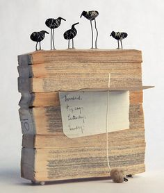 Lisa Kokin Morning Resolutions Book fragments, polymer clay, wire, string, PVA glue, 5.5 x 4 x 3 inches, 2006