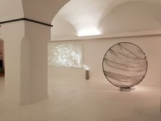"""The thin fibre optics of LIGHT\TRACE No. 1 are embedded in hand-made paper and gilded. The light installation creates a stunning atmosphere in the room. In combination with LIGHT\TRACE No. 8 it was shown in my solo exhibition """"The Language of Light"""" at Gallery Göttlicher, Krems, in 2018. www.ATARA-design.com  #ATARAdesign #lighttrace #lightobject #lightinstallation #lightsculpture #ATARAdesign"""
