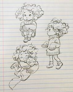 , 7 Bev Johnson (beverlylove) lined paper doodles Drawing Cartoon Characters, Cartoon Sketches, Character Drawing, Drawing Sketches, Art And Illustration, Character Illustration, Illustrations, Cartoon Kunst, Cartoon Art