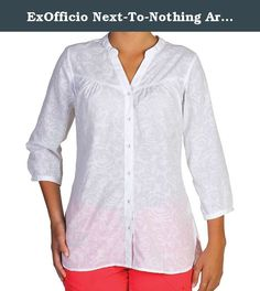 ExOfficio Next-To-Nothing Artisan Shirt - Women's White Medium. FEATURES of the ExOfficio Women's Next-To-Nothing Artisan Shirt Button front placket Shaped neck with band collar Gathered front yoke detail Lightweight Wrinkle resistant.