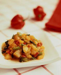 Paprika-mangosalsa Mango Salsa, Pork, Sweet, Ethnic Recipes, Red Peppers, Kale Stir Fry, Candy, Pigs