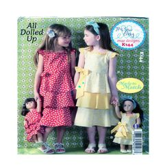 "All Dolled Up Girl & 18"" Doll (American Girl Size) 3 Tier Ruffled Jumper Dress Cap Sleeve McCalls/Kwik K144 Size 3-4-5-6-7-8-10 - UNCUT by FindCraftyPatterns on Etsy"