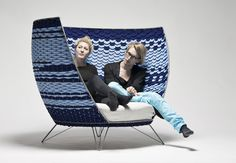 the delightful 'Big Basket' chair for two by Swedish designer Ola Gillgren. Wool felt woven into a steel frame. via olagillgren.se (ty modecodesign)