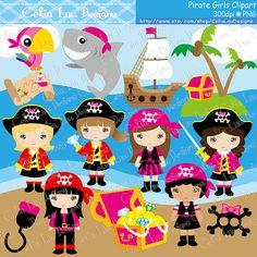 Girl Pirate Clipart/ Cute pirate girls Clip art by CeliaLauDesigns