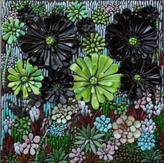 """Isn't this awesome of Succulents? 2012 Mosaics Place """"Succulents II"""" by Lucy Mosaic Flowers, Stained Glass Flowers, Fused Glass Art, Mosaic Art, Mosaic Glass, Mosaic Tiles, Mosaic Designs, Mosaic Patterns, Art Patterns"""
