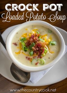 Crock Pot Loaded Baked Potato Soup is not only really simple to make but it gets better as it slowly cooks. Topped with cheese and bacon! So creamy! Cream Of Potato Soup, Loaded Baked Potato Soup, Crockpot Baked Potato Soup, Recipe For Crock Pot Potato Soup, Potato Soup Recipe With Half And Half, Easy Potato Soup, Slow Cooker Potato Soup, Crock Pot Potatoes, Crock Pots
