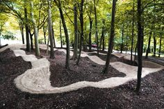 """Aston Hill pump track"" Beautiful track, the contrasts in the dirt make it look so sharp. They kept the trees! Love"