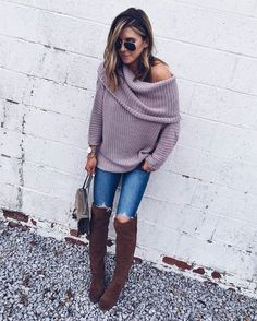 """""""Chunky knits, distressed denim, and OTK boots create a favorite cozy look for fall. I could live in this soft sweater!""""- @cellajaneblog for #LTKTakeoverTuesday 