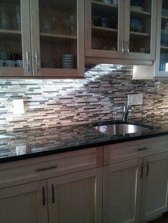 Verde Erfly Granite Gl Mosaic Back Splash Grey Kitchen Walls Dark White