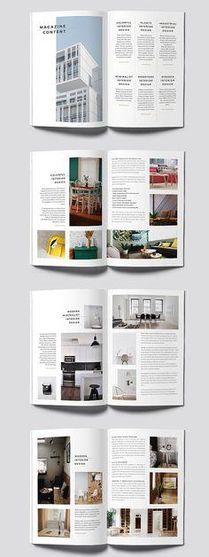 Minimal Interior Magazine Template – Design is art Magazine Page Layouts, Magazine Layout Design, Interior Design Magazine, Book Design Layout, Print Layout, Mise En Page Portfolio, Portfolio Design, Indesign Templates, Brochure Template