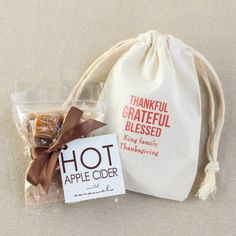 Apple Cider Drink Mix in Personalized Natural Cotton Favor Bag by Beau-coup