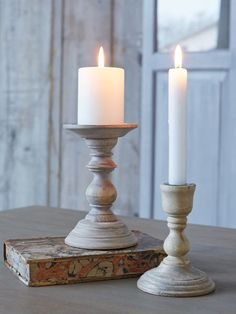 Our classic, turned candle holders will strike just the right note on your dinner table, conjuring up timeless Scandi style with their lime-washed finish and delicate curves.