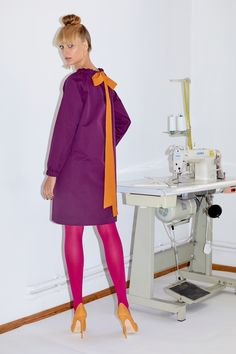 Framboise - Purple and ochre cotton dress