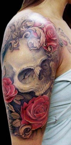 skulls and flower tattoos - Google Search