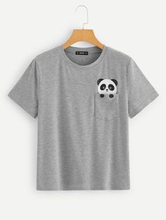 To find out about the Panda Print Pocket Patched Tee at SHEIN, part of our latest T-Shirts ready to shop online today! Looks Adidas, Cool Shirts, Tee Shirts, Paint Shirts, T Shirt Painting, Painted Clothes, Latest T Shirt, T Shirts For Women, Clothes For Women