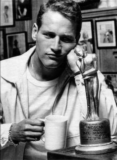 Paul Newman with his 'NOSCAR', the morning after the Oscars Awards Show left him empty handed. What a handsome trooper.